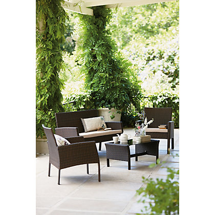 Rattan 4 seater cube garden furniture set for Outdoor furniture homebase