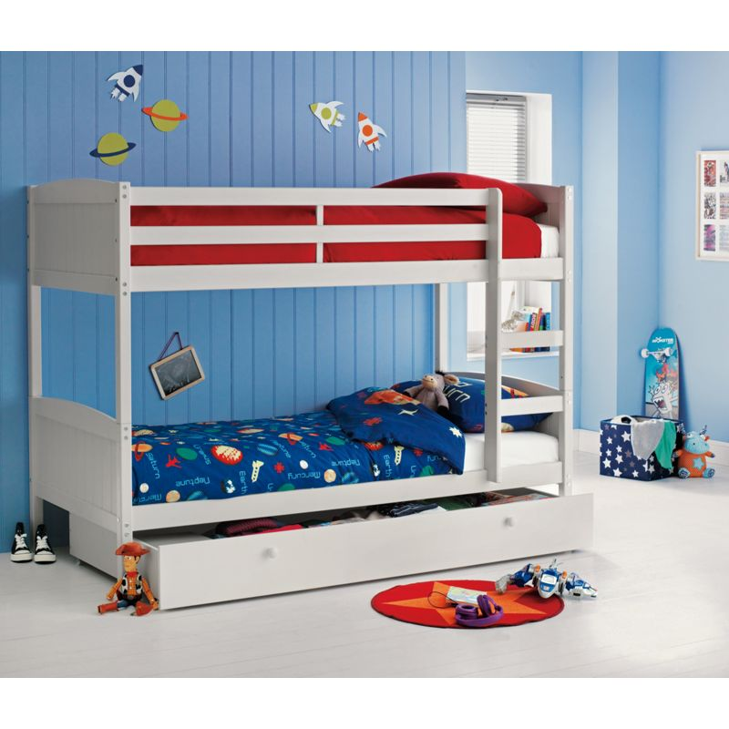 Amy White Bunk Bed With Storage Frame Only