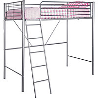 Metal High Sleeper Silver Bed Frame