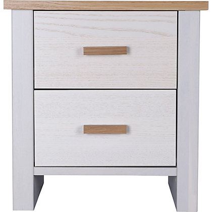 New winchester 2 drawer bedside chest oak and white ash for Winchester bedroom furniture