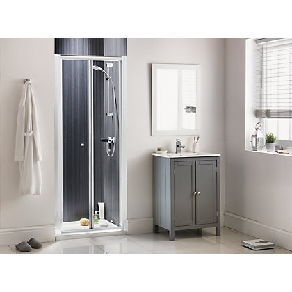 Image for Aqualux Sapphire Bi Fold Recess Shower Enclosure - 1900 x 760mm - Silver from StoreName