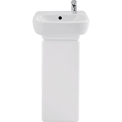 facile left handed bathroom cabinet for basin 40cm white