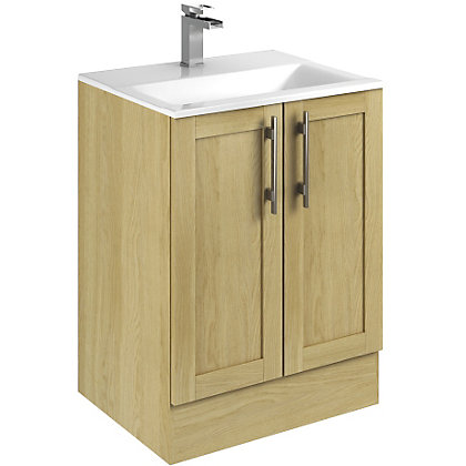 canterbury modular freestanding unit basin oak 600mm