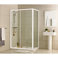 Aqualux Crystal Slider Enclosure - White - 1000 x 760mm