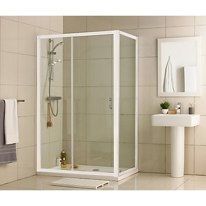 Image for Aqualux Crystal Slider Shower Enclosure - 1200 x 760mm - White from StoreName