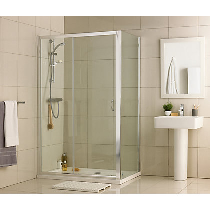 Image for Aqualux Crystal Slider Shower Enclosure - 1200 x 760mm - Silver from StoreName
