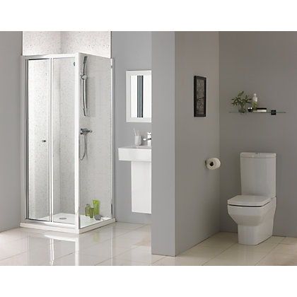 Image for Aqualux Sapphire Bi Fold Shower Enclosure - 1900 x 800mm - Silver from StoreName