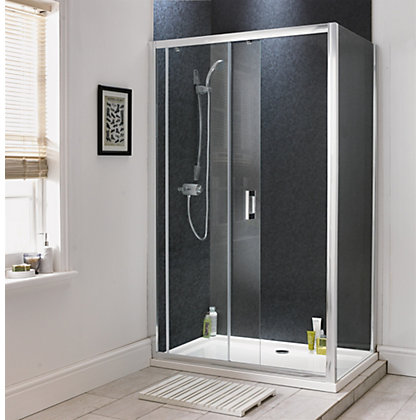 Image for Aqualux Sapphire Slider Shower Enclosure - 1700mm Recess - Silver from StoreName