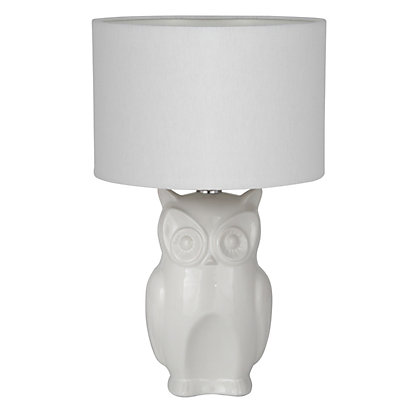 Image for Ceramic Owl Table Lamp - White from StoreName