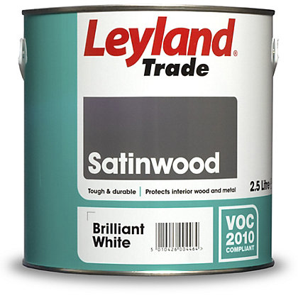 Image for Leyland Satinwood Brilliant White Trade Satin Paint 2.5L from StoreName