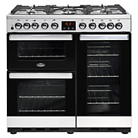 Belling Cookcentre 90DFT Deluxe Dual Fuel Range Cooker - 90cm - Stainless Steel