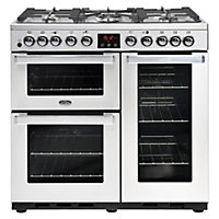 Belling Cookcentre 90DFT Deluxe PROF Dual Fuel Range Cooker - 90cm - Stainless Steel