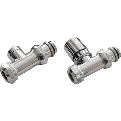 Image for Heated Towel Rail Straight Valve Set - Chrome from StoreName