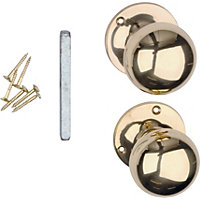 Value Victorian Mortice Door Knob - Polished Brass - 1 Pair