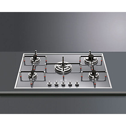 Image for Smeg PVS750 5 Burner Low Profile Gas Hob - Silver Glass from StoreName