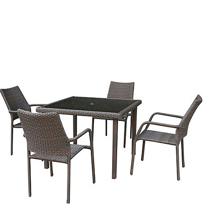 Image for Bayfield Rattan Effect 4 Seater Garden Furniture Set - Brown from StoreName
