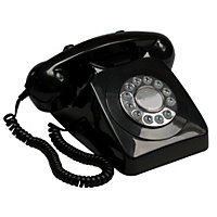 Black GPO 746 Push Button Retro Telephone