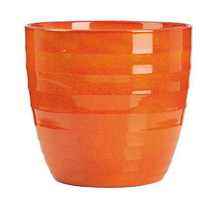 Image for Ceramic Indoor Plant Pot in Red Orange - 14cm from StoreName