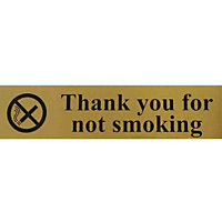 Thank you for Not Smoking Sign - Gold/Black