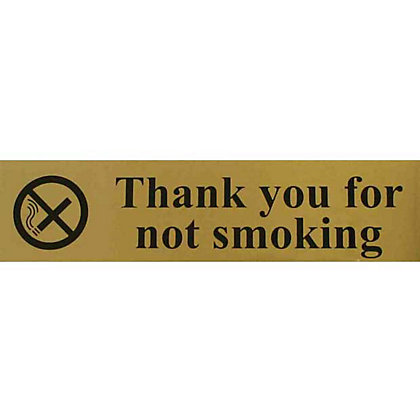 Image for Thank you for Not Smoking Sign - Gold/Black from StoreName