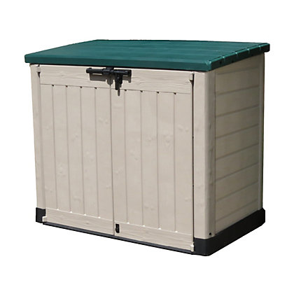 Keter store it out max garden storage beige green 1200l for Garden shed homebase