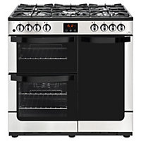 New World Vision 90DF Dual Fuel Range Cooker - 90cm - Stainless Steel