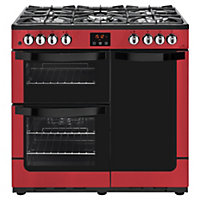 New World Vision 90DF Dual Fuel Range Cooker - 90cm - Red