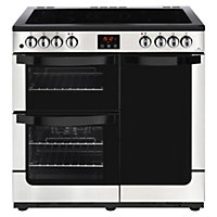 New World Vision 90E Electric Range Cooker - 90cm - Stainless Steel