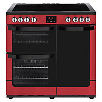 New World Vision 90E Electric Range Cooker - 90cm - Red