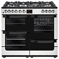 New World Vision 100DF Dual Fuel Range Cooker - 100cm - Stainless Steel