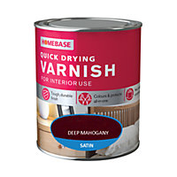 Homebase Quickdry Varnish Satin Dark Mahogany - 750ml