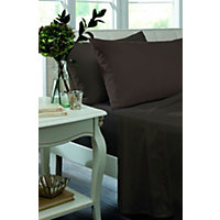 Percale Non Iron Chocolate Pair of Housewife Pillowcases.