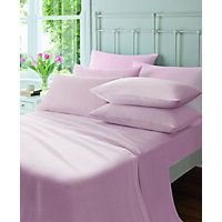 Flannelette Pink Fitted Sheet - Single.