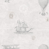 Fine Decor Vintage Travel Wallpaper - Grey