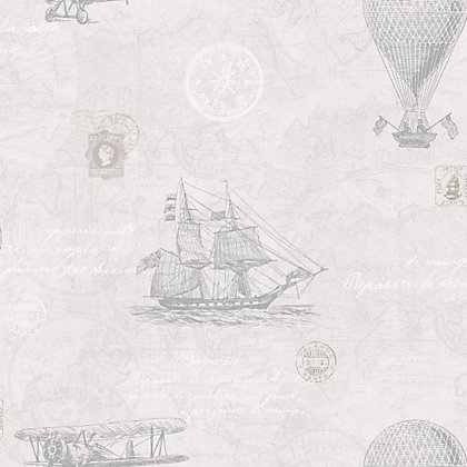 Image for Fine Decor Vintage Travel Wallpaper - Grey from StoreName