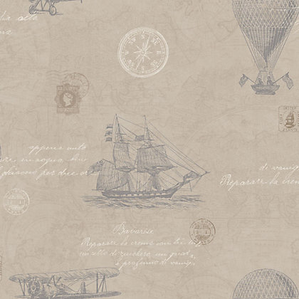 Image for Fine Decor Vintage Travel Wallpaper - Taupe from StoreName