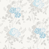 Fine Decor Claudia Wallpaper - Blue / Duck Egg
