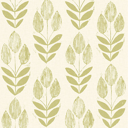 Image for Fine Decor Blockprint Tulip Wallpaper - Green from StoreName