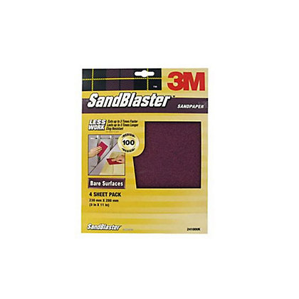 Image for 3M SandBlaster Medium P100 Sandpaper - 4 pack from StoreName