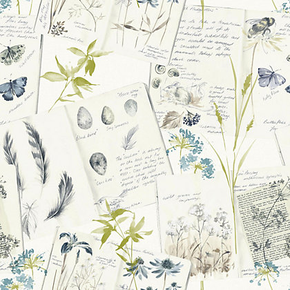 Image for Gran Deco Nature Diary Wallpaper - Teal from StoreName