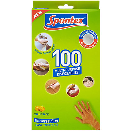 Spontex Multi Purpose Disposable Gloves 100pk