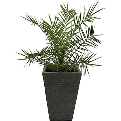 Image for Piazza Tall Garden Plant Pot in Black Granite - 50cm from StoreName