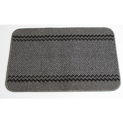 Charcoal kilkis machine washable rug 80cm x 50cm at for Door mats argos