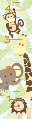 Image of Fine Decor Jungle Friends Growth Chart WallPops Wall Sticker