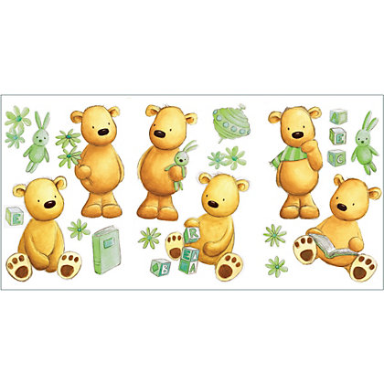 Image for Fine Decor Teddy Bear Stickers - Green from StoreName