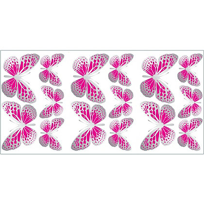 Image for Fine Decor Butterflies Stickers - Pink from StoreName