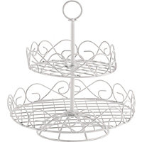 2 Tier Wire Cake Stand - White