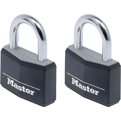 Image for Master Lock Black Padlock - 40mm - 2 Pack from StoreName