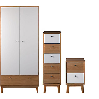 Hygena Merrick 3 Piece Bedroom Furniture Package Oak And White At Homebase Be Inspired And