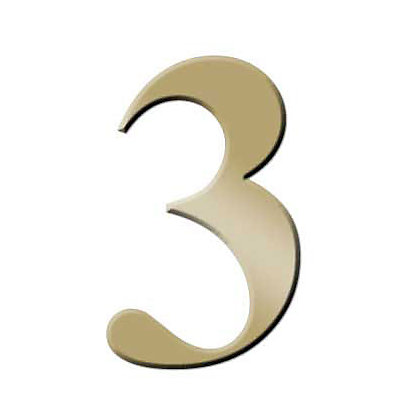 Image for Self-Adhesive Door Number - Brass - 3 from StoreName